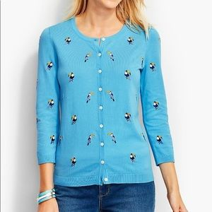 Talbots Charming Toucan blue buttoned Cardigan